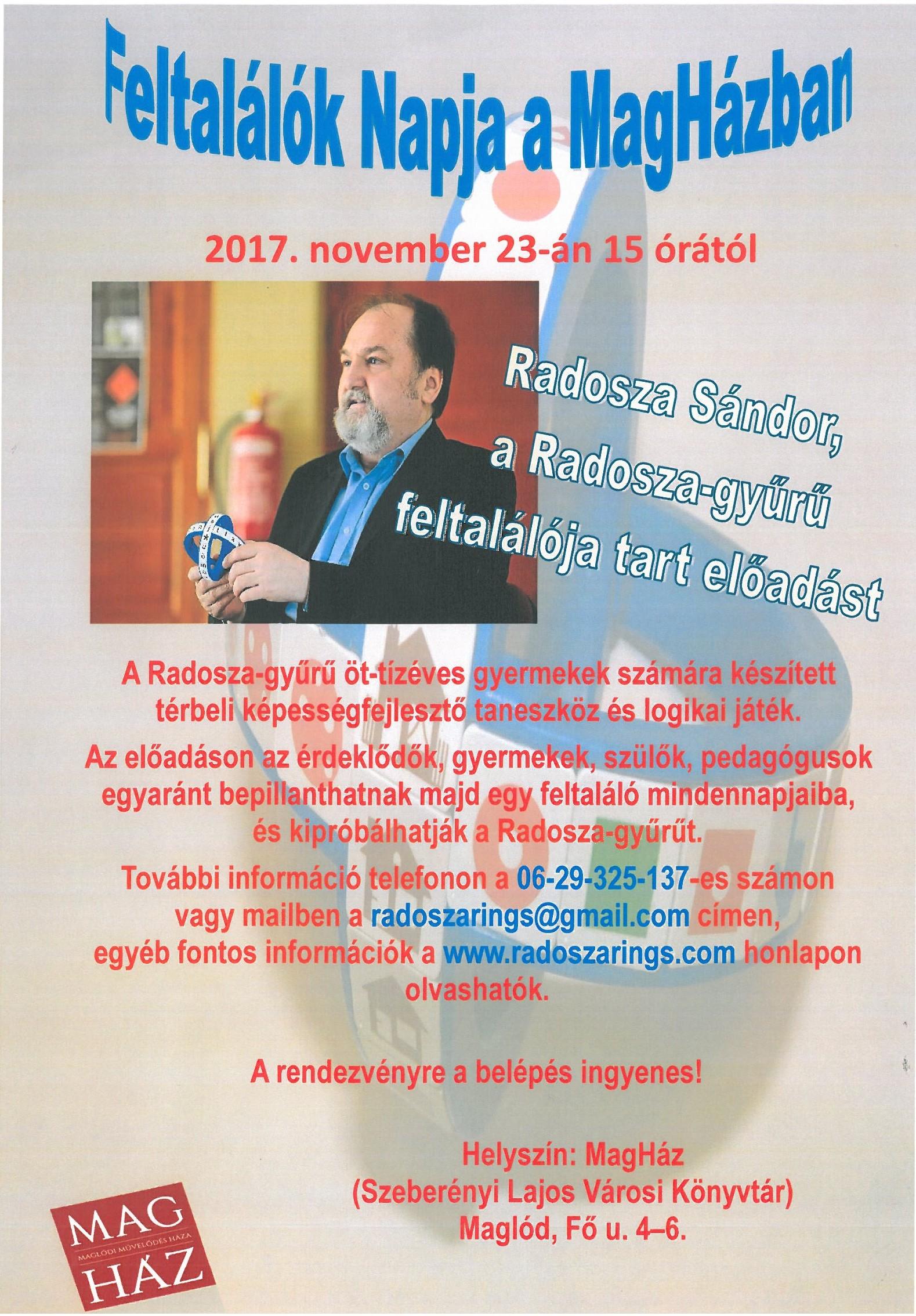 2017.11.23. Feltalálók Napja - vendégünk Radosza Sándor