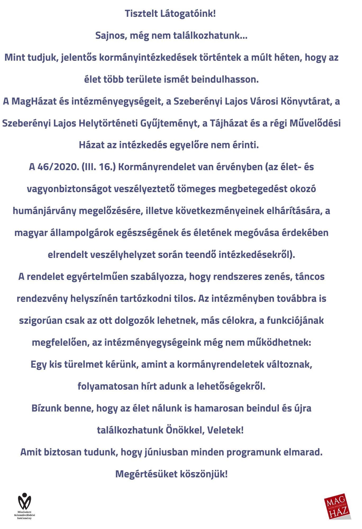Tájékoztatás - 2020.05.18.